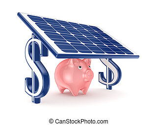 Pink piggy bank under solar batteryIsolated on white...