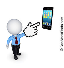 3d small person pointing to mobile phone.