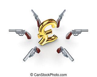 chromed, sinal, dólar, revólveres, ao redor