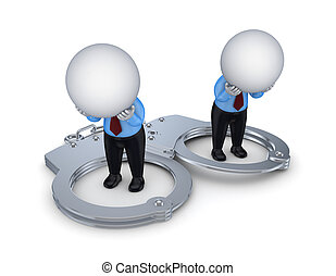 Sad 3d small people, handcuff and red sand glass - Sad 3d...
