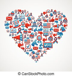 US elections icons heart shape - USA elections icon set in...