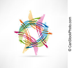 Vector Color Brush Strokes. Abstract symbol.
