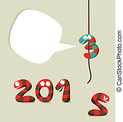 Happy New Year 2013 template - Funny cartoon snakes monsters...