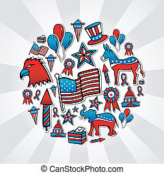 USA elections sketch style icons - USA elections hand drawn...