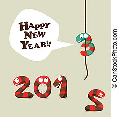 Funny snake Happy new year 2013 greeting card - New 2013...