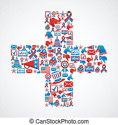 Marketing US elections icon in cross - Online Marketing USA...