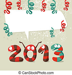 Cartoon creatures Happy New Year 2013 - Cartoon 2013 snakes...