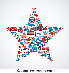 US elections icons star shape - USA elections icon set in...