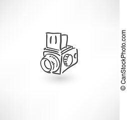 Hand drawn old camera icon