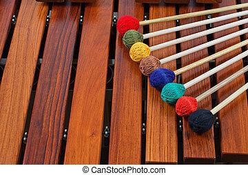 colorido, mallets, Marimba