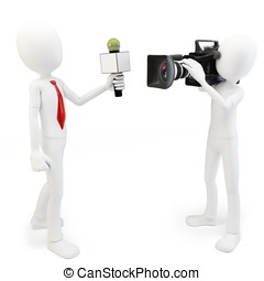 3d man reporter and cameraman crew on white background