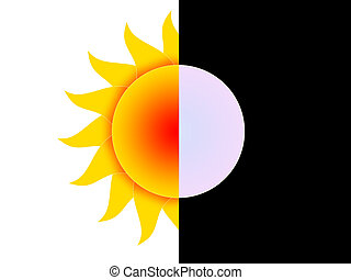 Day and night - Symbols of the sun and the moon on a...