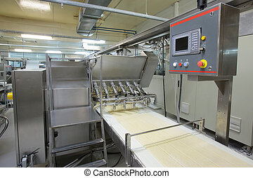 Pastry production line. Machine for applying a sweet filling...