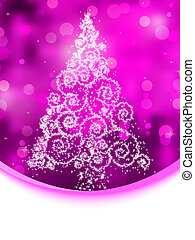 Christmas tree illustration on purple bokeh. EPS 8 -...