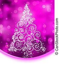 Christmas tree illustration on purple bokeh. EPS 8 -...