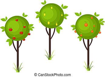 Fruit tree icons - Fruit Trees isolated on white background....