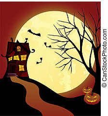 Witch house - Halloween scene with witch house Vector...