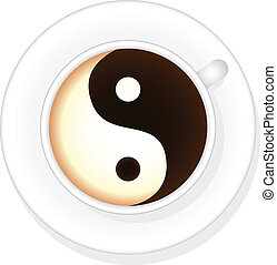 Coffee - Cup of coffee with sign yin and yang isolated on...
