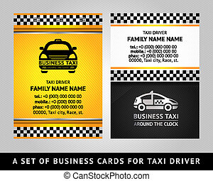 Business card - TAXI CAB, vector template 10eps