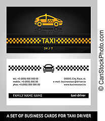 business cards taxi cab, vector template 10eps