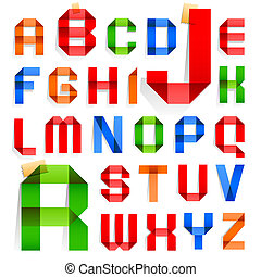 Font folded from colored paper - Alphabet - Font folded from...