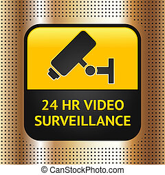 CCTV symbol on a golden metallic background