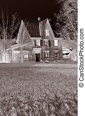 haunted house - spooky, broken down, glowing abandoned house...
