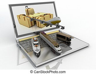 concept of transport for trips 3d render illustration