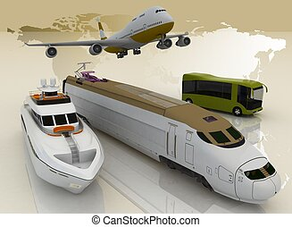 concept of transport for trips. 3d render illustration
