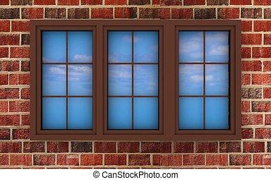 3D, 照らされた, プラスチック, 窓, れんが,...