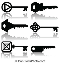 Keys - Illustration of silhouettes of keys on a white...