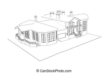 house: 3d technical draw