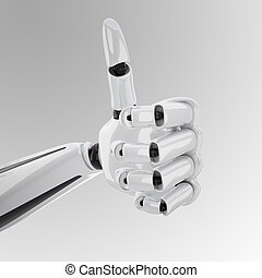 a 3d robotic hand with thumb up - a 3d robotic hand giving...