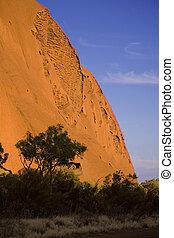 ayers rock in Uluru - Sun is shining at ayers rock in Uluru
