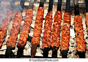 shish kebab cooked, Adana, Turkey - cook shish kebab...