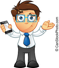 Business Man - Unsure With Mobile - Vector Illustration of a...