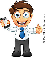 Business Man - Thumbs Up With Mobil - Vector Illustration of...