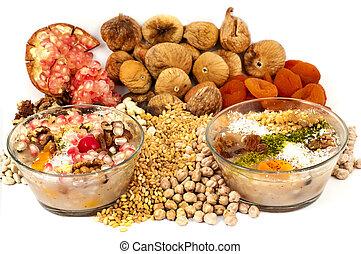 trigo, Pudín, secado, nueces, frutas, turco, postre,...