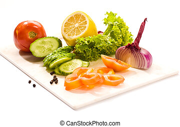 Vegetarian food - Vegetable mix: lettuce, onion, lemon,...