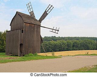 Old windmill in the Ukrainian village,Kiev - Old windmill in...