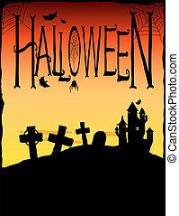 Halloween - Spooky castle and gravestones. Halloween...