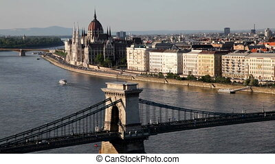 Budapest, Hungary - The Szechenyi Chain Bridge (Lanchid) and...