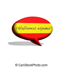 Speak spanish - illustration with spanish flag and text...