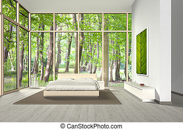fictitious bedroom with a beautiful view into the forest -...