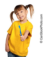 Girl with tooth brush
