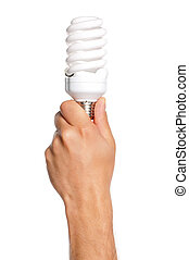 Man hand - Man holding an small fluorescent bulb isolated on...