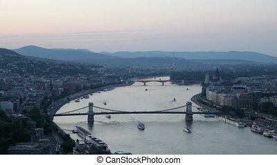 Budapest, Hungary - Evening Panorama of the Hungarian...
