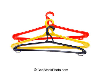 Red clothes hanger. Isolated - Red clothes hanger isolated...