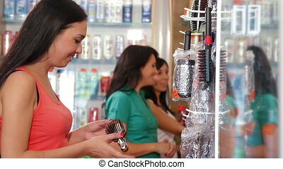Girl Shopping in Cosmetics Store