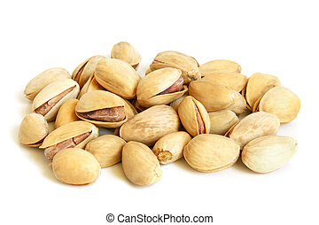 Pistachios on a white background